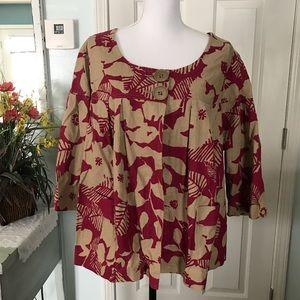 Basic Editions linen/ cotton blend swing jacket.